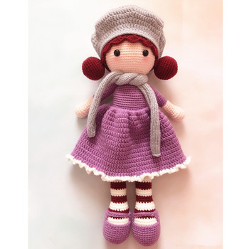 1 piece sweet artificial real fur made cats toy sleep baby kat kittens pussy cat doll decorations birthday gift for child girls 40cm Handmade Beret Girl Knitted Doll Christmas Birthday Easter Valentine's Day Gift for Girls Baby Sleep Doll Home Decoration