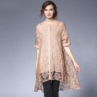Summer Oversize Asymmetrical Shirt Plus Size Women See Through Long Floral Shirts Blouses Xl To 4xl