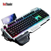 Игровая клавиатура RedThunder K900 RGB с подсветкой Механическая с подсветкой аналогичная Эргономичная подставка для телефона опора для рук для ПК геймера