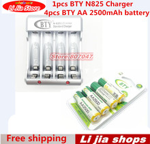 1 pcs D'origine BTY N-825 Ni-MH Ni-cd AA AAA Chargeur de Batterie + 4 pcs BTY AA 2500 mAh Ni-MH Rechargeable Batterie