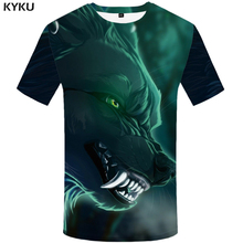 KYKU Wolf Shirt Green Tshirt Streetwear Punk Clothes 3d Print T shirt Men Short Sleeve Mens Clothing Summer New