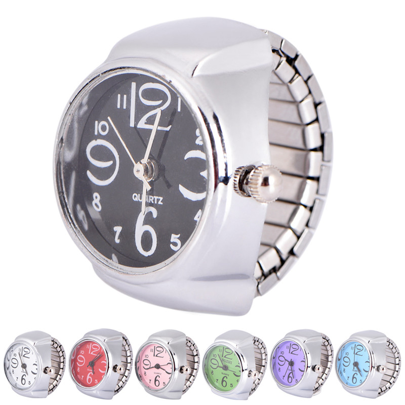 Novelty Finger Ring Round Dial Luxury Quartz Watch Creative Steel Elastic Quartz Watch Rings Jewelry High Quality Girls Gifts