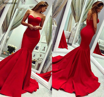 Red Mermaid Evening Dresses 2019 Strapless Backless Sweep Train Prom Party Formal Dresses Robe De Soirée Evening Dresses Long