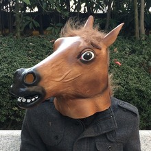 Horror Ball Mask Horse Head Cosplay Halloween Party Show Toy Latex Animal Cover