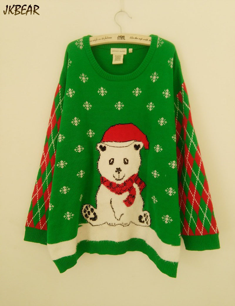 a28e3a7d545 sweet bear wearing christmas hat ugly christmas sweaters for women funny plus  size pullovers xl xxxl