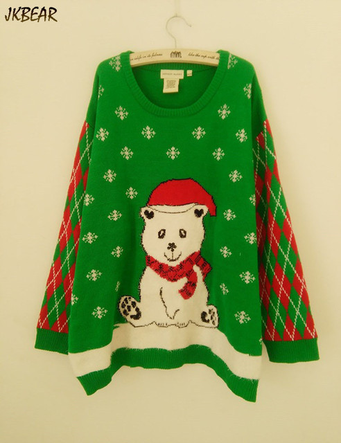 sweet bear wearing christmas hat ugly christmas sweaters for women funny plus size pullovers xl