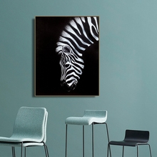 Laeacco Canvas Calligraphy Painting Black and White Zebra Animal Posters Prints Home Bedroom Decor Living Room Decoration