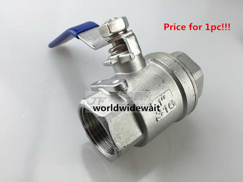 1 1/2 2Pcs Female Thread Ball Valve SS 304 BSP Stainless Steel DN40 1 2 bsp female 304 stainless steel flow control shut off needle valve 915 psi water gas oil
