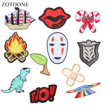 ZOTOONE Dinosaur Patches Lips Stickers Badge Diy Iron on Clothes Heat Transfer Applique Embroidered Applications Cloth Fabric G(China)