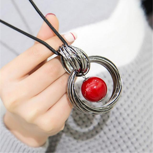 Red White Pearl Ball Pendant Long Necklaces New Circles Simulated Women Black Chain Maxi Necklace Fashion Jewelry Wholesale Gift 1