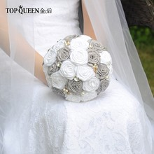 TOPQUEEN F6-GR In Stock Stunning Wedding Flowers Bouquets Bridal Bouquets Artificial White Rose and Dark Gray Rose and Pearls(China)