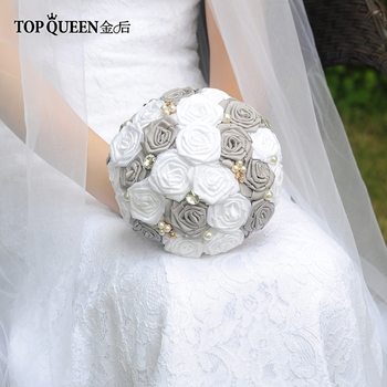TOPQUEEN F6-GR In Stock Stunning Wedding Flowers Bouquets Bridal Bouquets Artificial White Rose and Dark Gray Rose and Pearls 18 5 dark gray and light gray and white and transparent holographic rear projection film