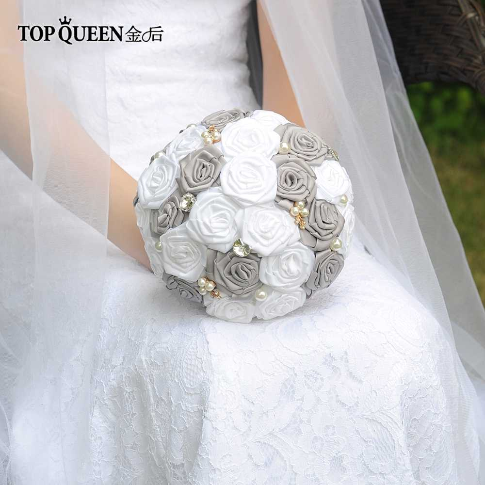 TOPQUEEN F6-GR In Stock Stunning Wedding Flowers Bouquets Bridal Bouquets Artificial White Rose and Dark Gray Rose and Pearls