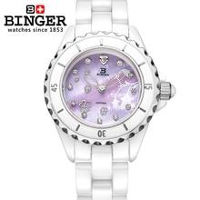 Switzerland Binger ceramic wristwatches Women fashion quartz watch Round rhinestone watches Water Resistant BG-0412-2