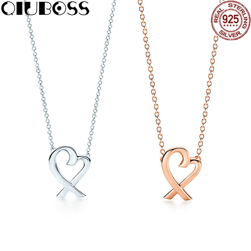 QIUBOSS Heart Necklace Heart-Shaped Pendant TIFF 925 Sterling Silver Pendant Necklace Nature Fashion Joker Jewelry Package Mail ayowei heart shaped 925 sterling silver rainbow zircon pendant necklace wedding gift sp75a