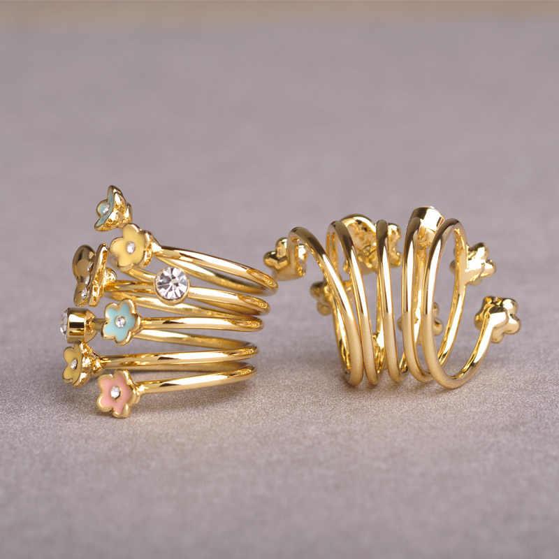Эмаль blucome Esmalte бабочка цветок кольцо золото Цвет Кристалл Anillos Mujer Многослойные кольца для женщин вечерние аксессуары Anel