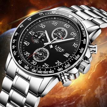 Relogio masculino LIGE Watches Men Luxury Brand Six pin Military Sport Quartz Watch Men Waterproof Wrist watch Man leather Clock lige horloge 2017