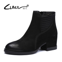 LIREN 2017 Fashion Women Boots Casual Ladies Shoes Martin Boots Suede Genuine Leather Ankle Boots High