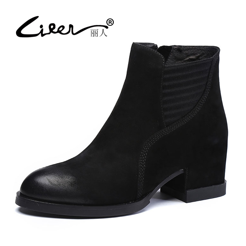 LIREN 2018 Fashion Women Boots Casual Ladies Shoes Martin Boots Suede Genuine Leather Ankle Boots High Heeled Zipper Snow Boots liren autumn winter snow boots square high heels shoes casual martin boots women fashion zipper genuine leather ankle boots