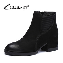 LIREN 2017 Fashion Women Boots Casual Ladies Shoes Martin Boots Suede Genuine Leather Ankle Boots High Heeled Zipper Snow Boots стоимость