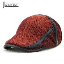 JAMONT algodón tejer boinas de lana 2018 nuevo sólido Casual Vintage Boina  hiedra sombreros hombre para 00903f85795