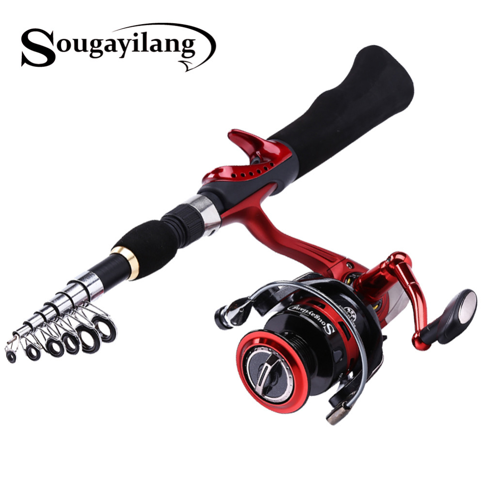 Sougayilang Spinning Fishing Rod with BD2000 Reel Set Olta 1.65m Red Portable Travel Carbon Fishing Rod Combo Fishing Pole sougayilang spinning fishing rod set 2 4m carbon telescopic fishing rod pole with dk2000 11bb reel fishing tackle kit rod combo
