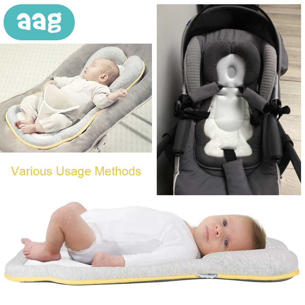 Pillow Aag Newborn Sleep Positioner Pillow Cotton Comfortable Sleeping Headrest Pillow Anti Roll Cushion Stroller Accessories 0