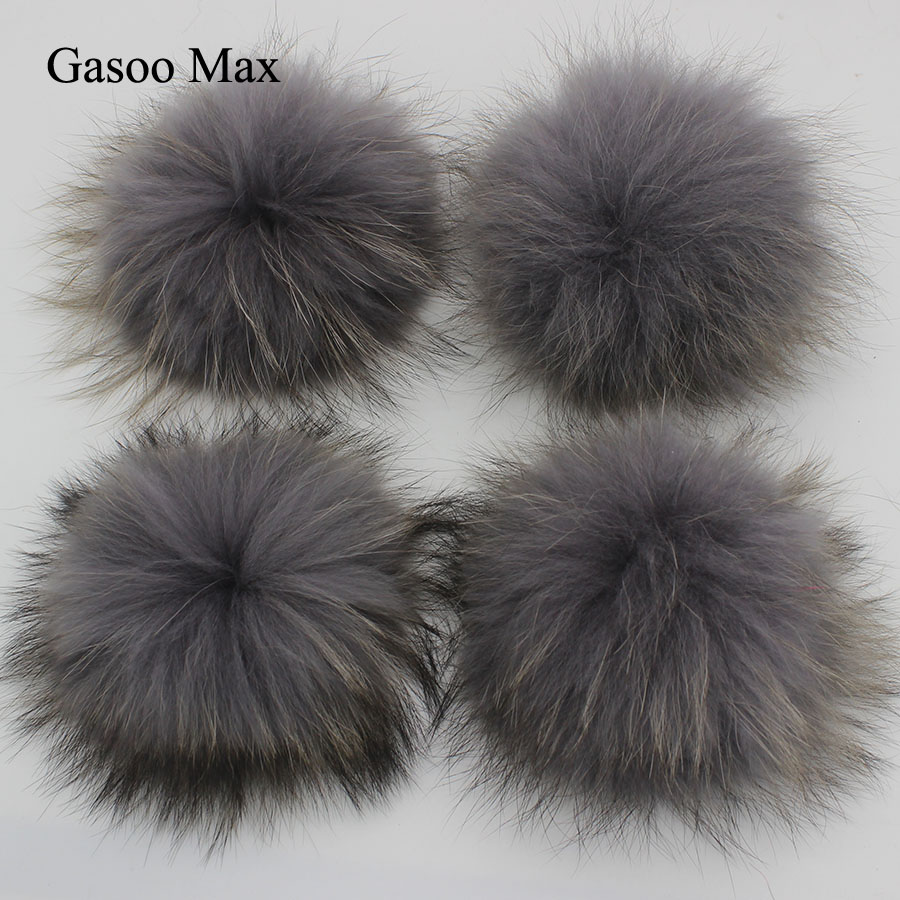15pcs DIY 15cm Grey Black Yellow White Raccoon Fox Fur Pom Poms Real Genuine Fur pomopms