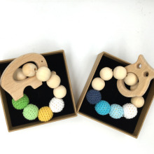Untreated Maple Teether with Organic Wood Toy Wood Animal Bracelet Crochet Bead Teething RingBaby Mom Kids Wooden Teether