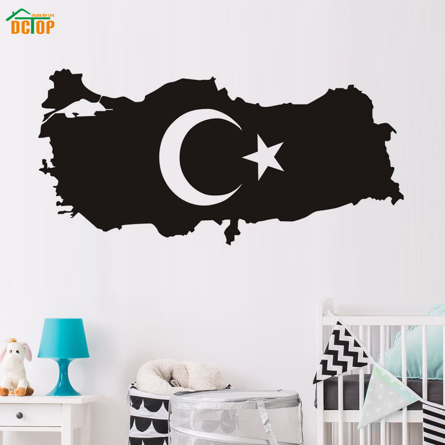 Dctop Hot Sale Black Turkey Map Silhouette Wall Stickers Vinyl Hollow Out Moon And Star For Kids Room Wall Decorative Decal Wall Stickers Aliexpress