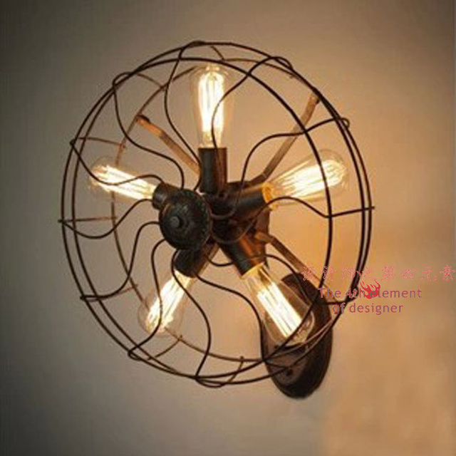 LOFT American Industrial Retro Wall Decoration Creative Living Room Fan Lamp House Lights Iron