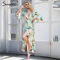 Simplee V Neck Floral Print Long Dress Women Ruffle Short Sleeve Maxi Dress Female Casual Sash