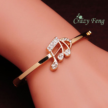 New Fashion Women's/Girl's  Rose Gold-Color Austrian Crystal Bracelets & Bangles Wrist Cuff Jewelry Gifts Free shipping