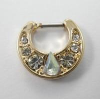 2015 Limitada Real Barriga Piercing 6 Pcs Aço Cirúrgico Cz para o Septo Clicker Pequeno Hoop Nose Ring Body Piercing Jewerly jóias