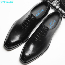 QYFCIOUFU 2019 Luxury Mens Dress Shoes Genuine Leather Lace-up Business Casual Shoe Fashion Formal Wedding Flat