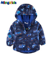 Mingkids High Quality Windbreaker Jacket For Boys Waterproof With Fleece Lining Outdoor Raincoat Export Europe Autumn