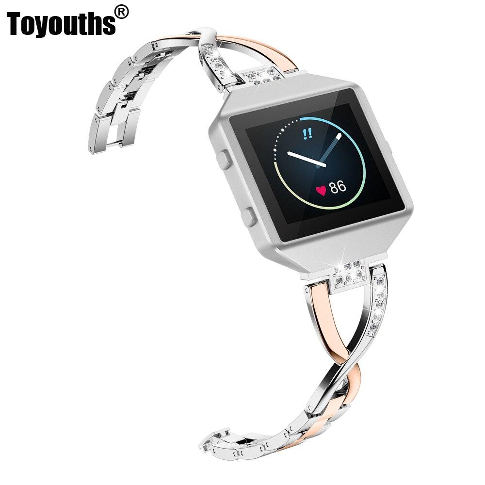 Bracelet de montre de remplacement en acier inoxydable Bracelet de montre cadre pour Fitbit Blaze Bracelet classique pour femmes avec cadre grand petit