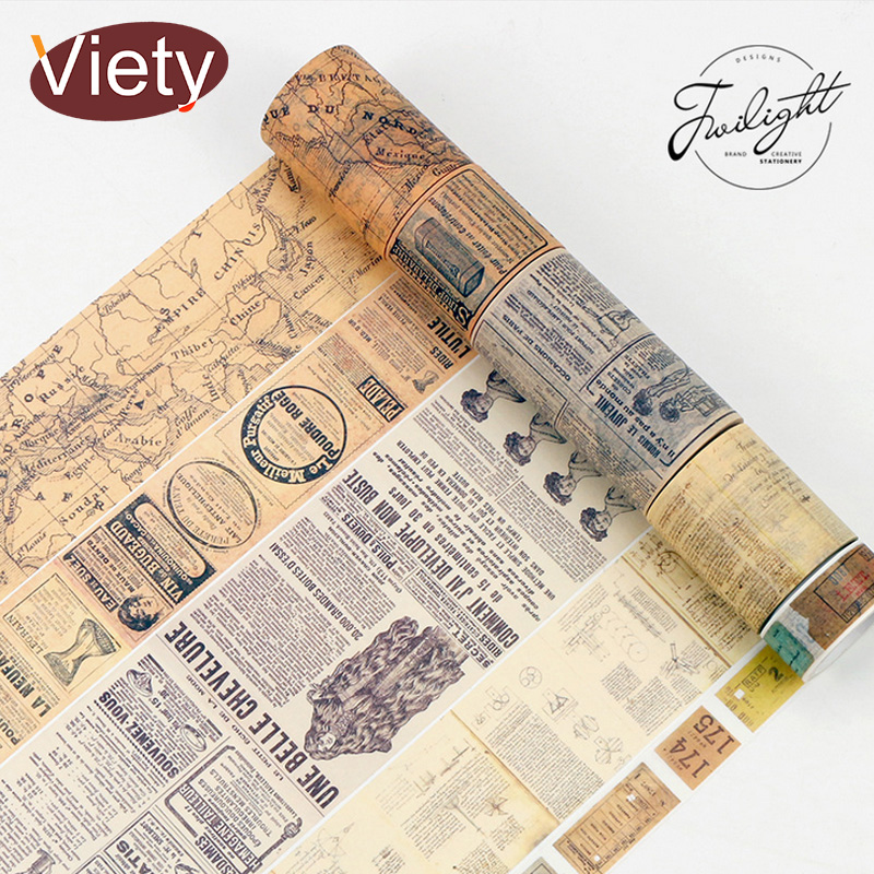 1.5-6cm*8m Vintage map ticket washi tape DIY decorative scrapbooking planner masking tape adhesive tape label sticker stationery Инструмент