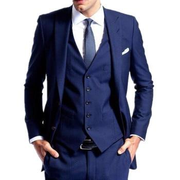 New fashion men formal suits custom made groom peak lapel slim fit suits navy blue wedding balzer 3 piece men suit