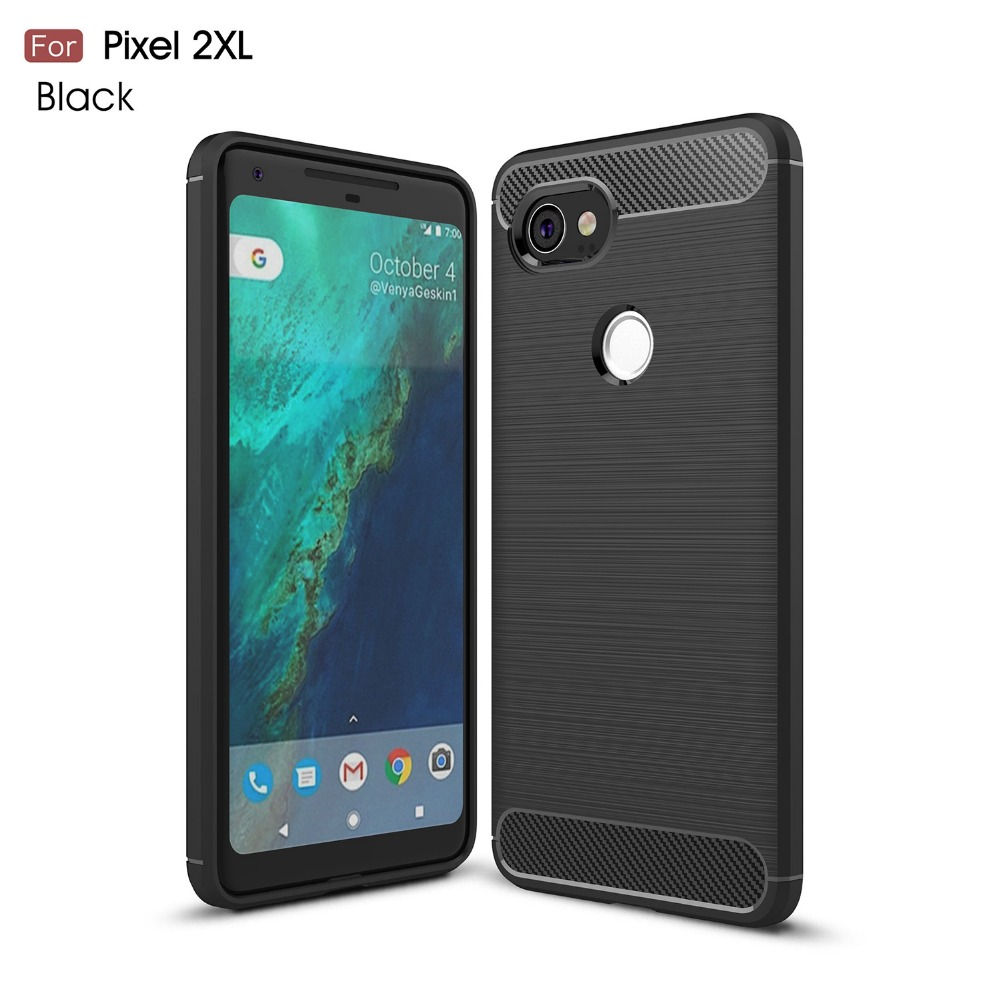 Case For Google Pixel 2 XL Case Super Durable Armor Case Carbon Fiber Texture Brushed Silicone For Google Pixel 2XL