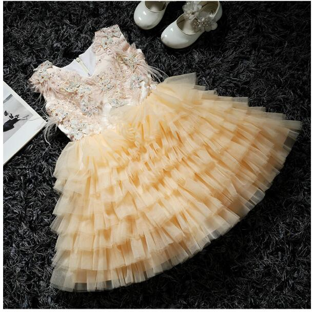 Girl's Formal Dress 2018 Flower Wedding Dresses Kids Tiered Gauze Pearl Birthday Party Ball Gown Children's Princess Dress 2-13Y pearl beading eyelet embroidered cuff tiered dress