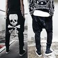 Панк-рок череп призрак человек шаровары с низкой талией эластичные брюки карманы свободные повседневная провисания штаны