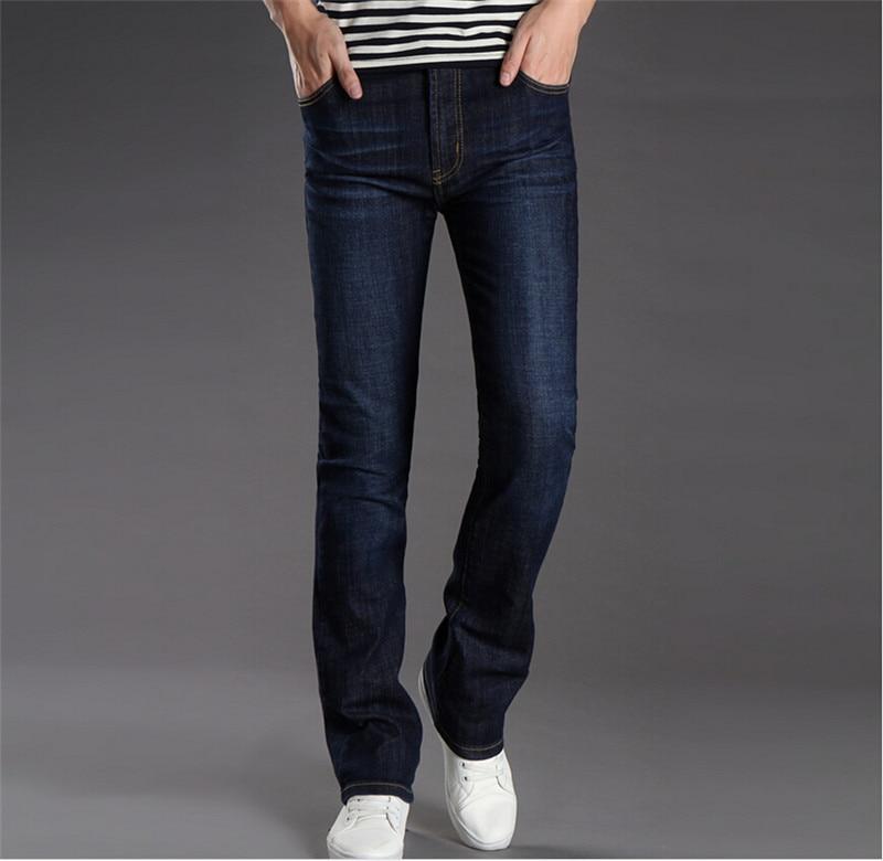Men's Business Casual Jeans Male Mid Waist Elastic Slim Boot Cut Semi-flared Four Seasons Bottom Jeans 28-36