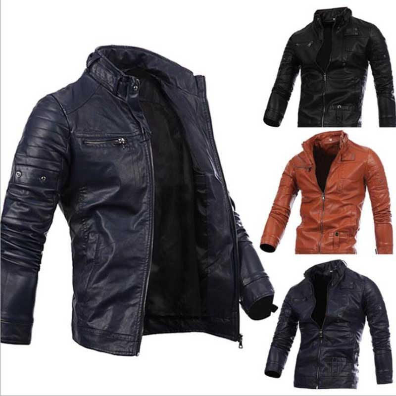 Men Leather Jacket Genuine Brand Black Male Bomber Motorcycle Biker Mans Coat Autumn Spring denim jacket campera cuero hombre