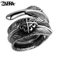 925 זכר כסף סטרלינג ZABRA נוצת בציר צלב רטרו נשי טבעת מתכווננת תכשיטי פאנק Biker Anillos דה פלטה 925 שחור