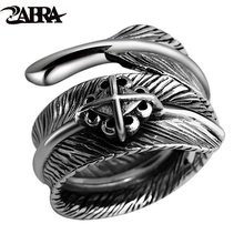 ZABRA Sterling 925 Silver Male Vintage Feather Cross Adjustable Ring Female Retro Black Punk Biker Anillos De Plata 925 Jewelry