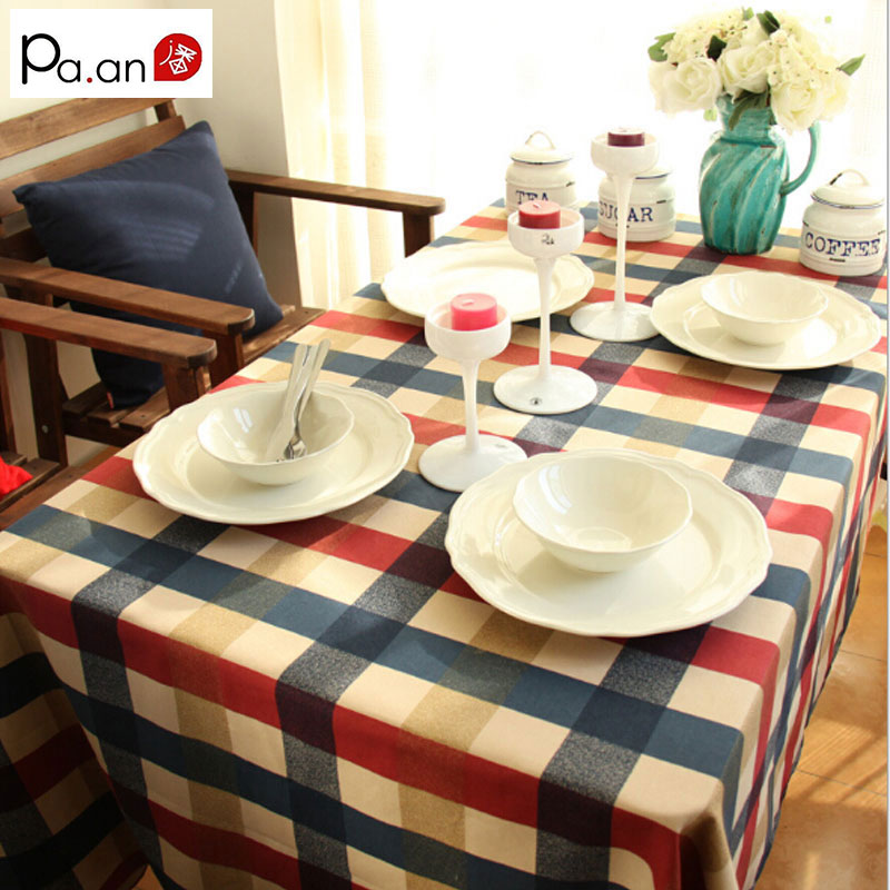Mediterranean cotton table cloth rectangular thick red plaid printed tablecloth for home party restaurant table decoration