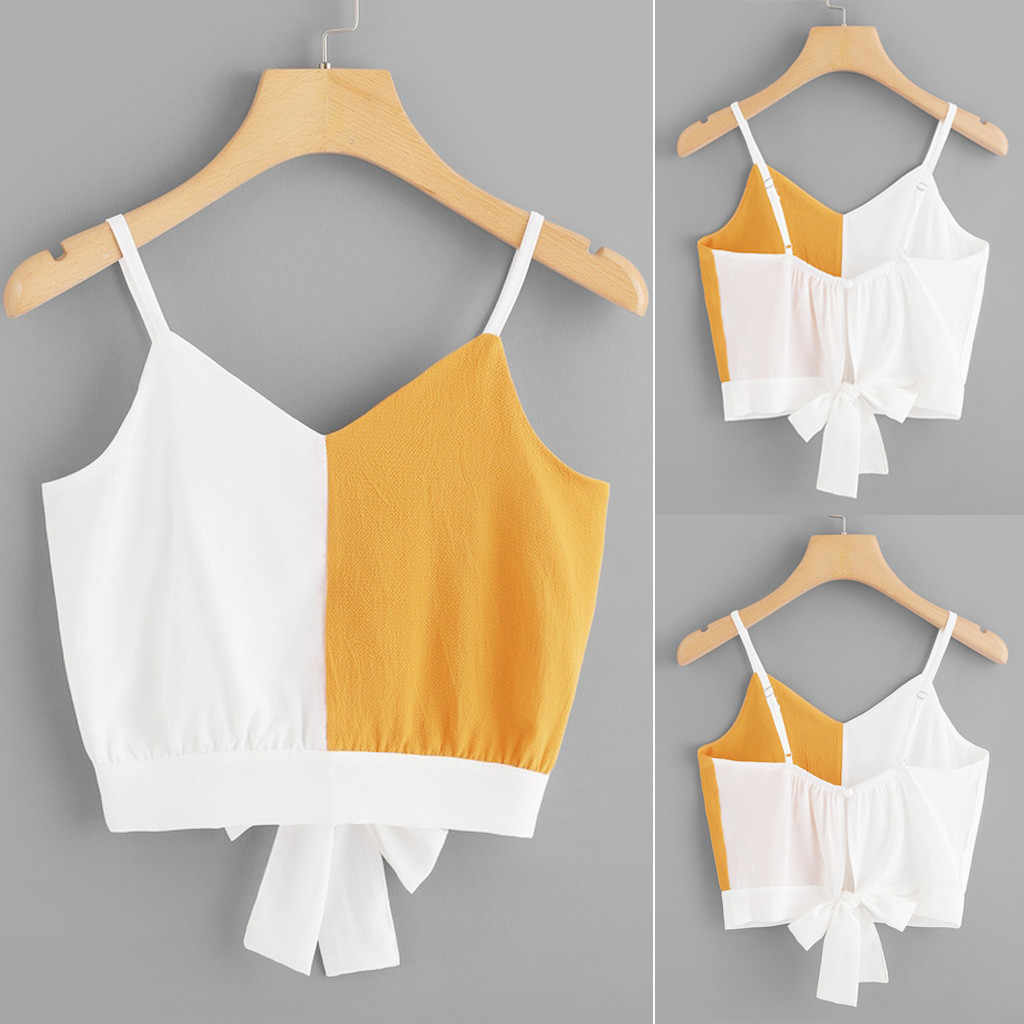 Fashion Women Casual Camis Patchwork Sleeveless V-Neck Short paragraph High waist Wild Tie Back Color Block Tops roupas femini