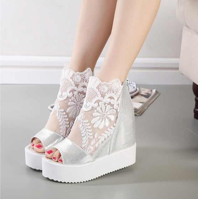 2019 Yeni moda Kama kadın Sandalet Rahat Toka Yüksek Topuk Ayakkabı Balık Ağzı Sandalet kadın Balık ağzı dantel içi boş ayakkabı