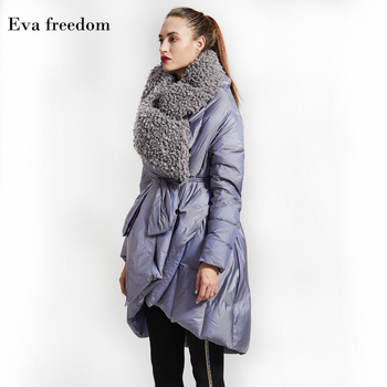 Winter British style good quality 95% real duck down coat female Imitation sheep lamb wool fur long thicker warm down coat wq401